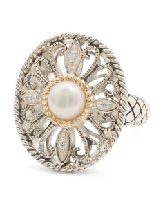 Made In Thailand 14k And Sterling Silver Pearl CZ Ring