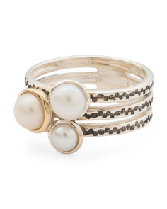 Made In Thailand 14k And Sterling Silver Pearl Stacked Ring