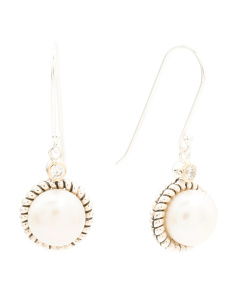Made In Thailand 14k Gold And Silver Pearl CZ Rope Earrings
