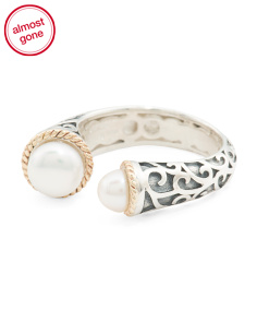 Made In Thailand 14k Gold And Silver Pearl Scroll Open Ring