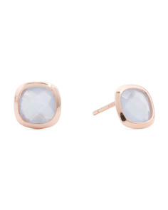 Made In Italy 14k Rose Gold Blue Crystal Stud Earrings