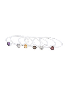 Made In India Sterling Silver Multi Gemstone 6 Stack Ring
