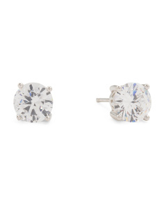 Sterling Silver 6mm Bezel Set Cubic Zirconia Stud Earrings