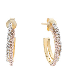 Made In Italy 14k Gold Cubic Zirconia Curved Bar Earrings