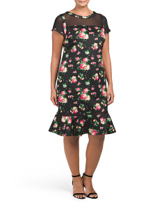 Plus Juniors Mesh Floral Scuba Dress