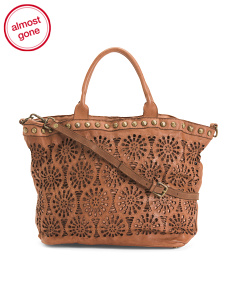 Made In Italy Laser Cut Leather Tote