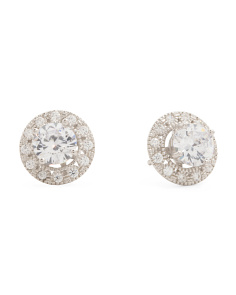 Sterling Silver 5mm Cubic Zirconia Halo Jacket Stud Earrings