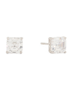 Sterling Silver Asscher Cut 6mm X 6mm CZ Stud Earrings