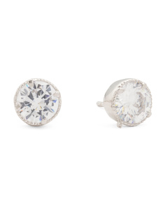 Sterling Silver Cubic Zirconia 7mm Stud Earrings