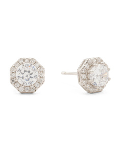Sterling Silver Octagon Cut 5.5mm Cz Halo Stud Earrings