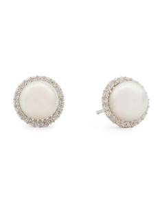 Sterling Silver Pearl And Cubic Zirconia Stud Earrings