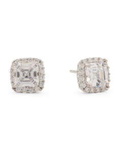Sterling Silver Square Cut 6mm X 6mm Cz Halo Stud Earrings