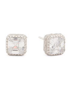 Sterling Silver Square Cut 7mm X 7mm CZ Halo Stud Earrings