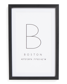 12x18 Boston Print Framed Wall Art