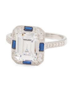 Sterling Silver Cubic Zirconia And Blue Spinel Engagement Ring