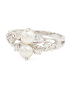 Sterling Silver Double Pearl And Cubic Zirconia Ring