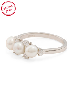 Sterling Silver Triple Pearl And Cubic Zirconia Ring