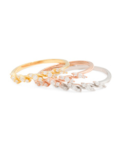 Tricolor Gold Plated Sterling Silver Cubic Zirconia Leaf Ring Set