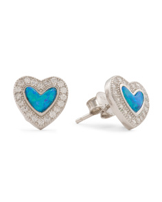 Sterling Silver Blue Opal Micropave Cubic Zirconia Halo Heart Earrings