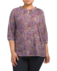 Plus Paisley Printed Top