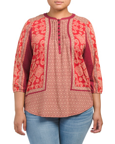 Plus Scarf Print Henley Top