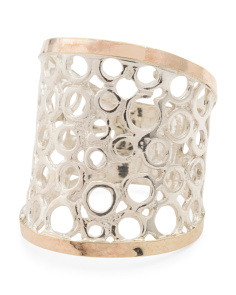 Made In Israel Sterling Silver And 14k Gold Openwork Ring