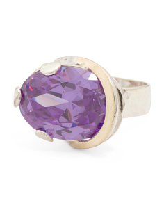 Made In Israel Sterling Silver And 14k Lavender Cubic Zirconia Ring