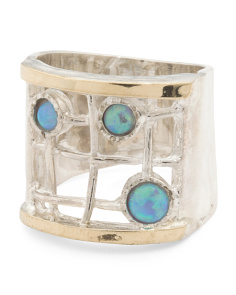 Made In Israel Sterling Silver And 14k Opal Gridwork Ring