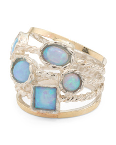 Made In Israel Sterling Silver And 14k Opal Multi Row Ring