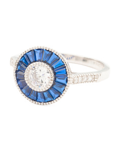 Sterling Silver Cubic Zirconia And Blue Spinel Ring