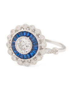 Sterling Silver Cubic Zirconia And Blue Spinel Round Ring
