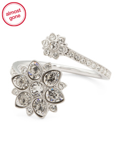 Made In Austria Celestial Rhodium Plated Flower Bypass Ring
