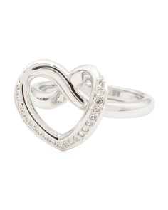 Made In Austria Cupidon Pave Crystal Outline Heart Ring