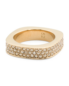 Made In Austria Vio Gold Plated Pave Crystal Squared Ring