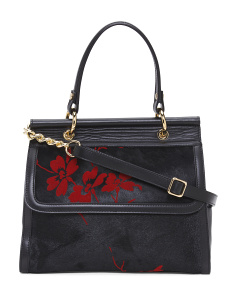 Made In Italy Flower Leather Satchel