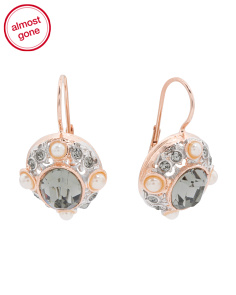 Made In Italy Rose Gold Plated Sterling Silver Pearl Earrings