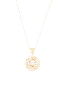 Made In Italy 14k Gold Pearl And Cz Filigree Disck Necklace