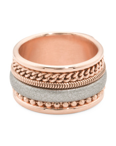 Made In Italy Rose Gold Plated Sterling Silver Leather Ring