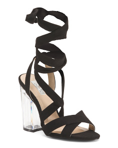 Ribbon Wrapped Lucite Heels