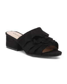Ruffled Heeled Slides
