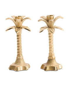 Made In India Set Of 2 Palm Taper Holders