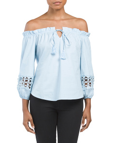 Juniors Off The Shoulder Tassel Tie Top