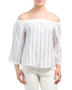 Juniors Striped Off The Shoulder Top