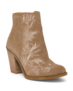 Embroidery Heeled Suede Booties