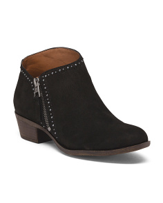 Leather Studded Side Zip Booties