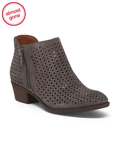 Cow Suede Perforated Booties