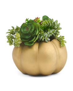 8in Faux Succulent Glitz Pumpkin Planter