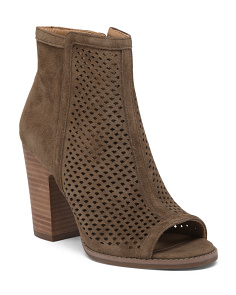 Perforated Peep Toe Suede Booties