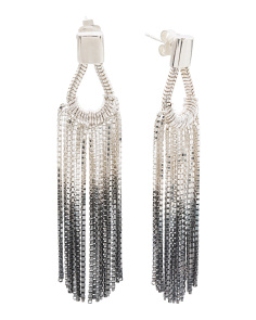 Handmade In England Vesper Silver Teardrop Fringe Earrings