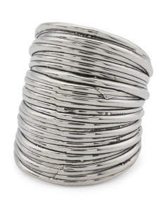 Made In Israel Sterling Silver Wide Striped Ring
